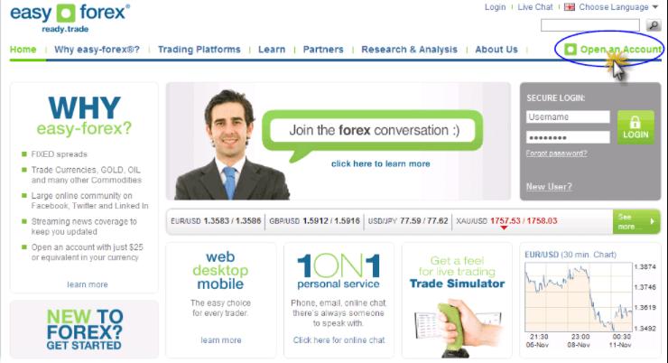 Mở tài khoản tại Forex Easy đơn giản