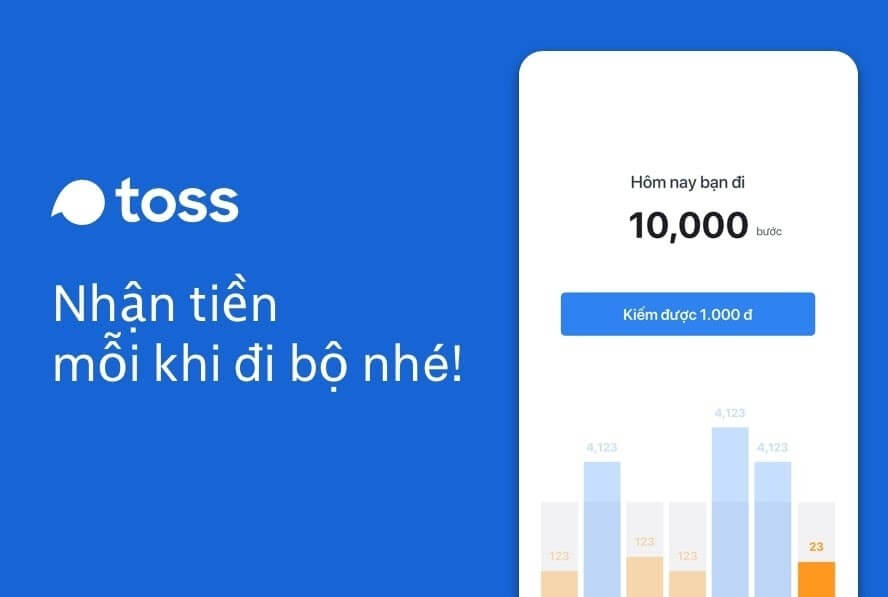 Vừa đi bộ vừa kiếm tiền qua App Toss