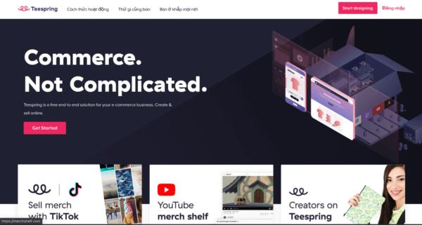 Teespring - website kiếm tiền online hấp dẫn